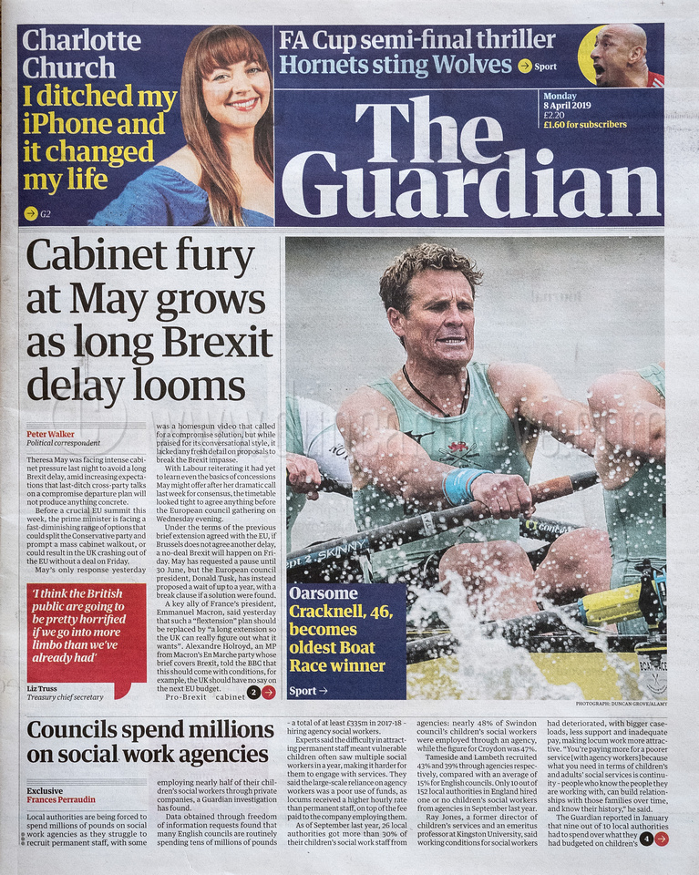 Front page, The Guardian, 8 April 2019.