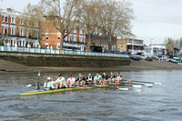 05.04.2014.  Tideway Week.  CUBC Blue boat on a Practice Outing in preparation for the Oxford & Cambridge Universities Boat Race 2014.