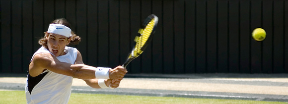 """Focused"". Rafael Nadal, Finalist, Men's Singles, Centre Court, Wimbledon 2006."