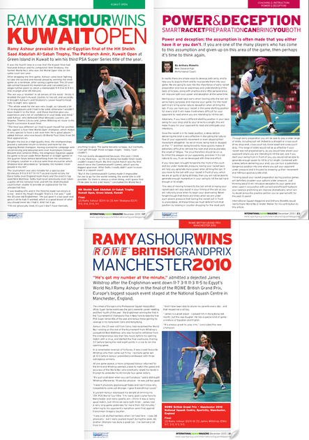 International Squash Magazine Dec 2010.
