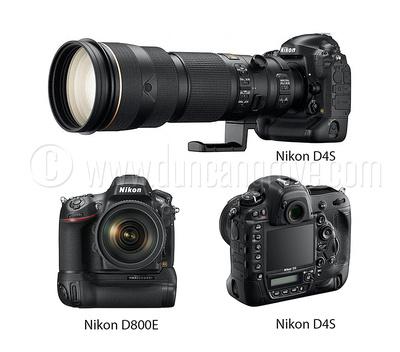 Duncan Grove's two Nikon D4S & one Nikon D800E bodies