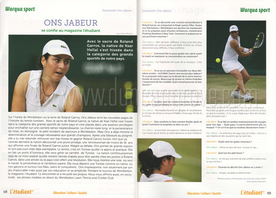 L'étudiant magazine July 2011 - Ons Jabeur feature.